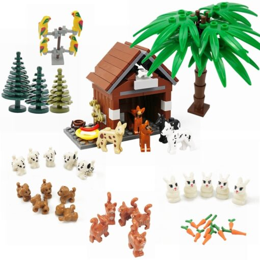 Animals MOC Cute Dogs Cat Wolf Tiger Figures Models Building Blocks Toys for Children Assemble Animals