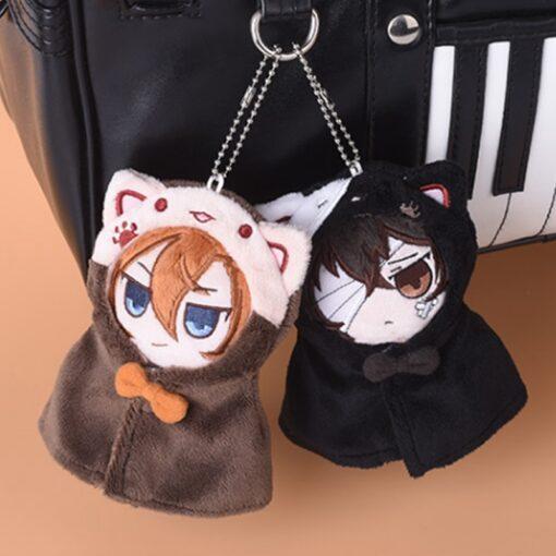 Anime Stray Dogs Plush Doll Stuffed Toy Anime PP Cotton Tsumamarekko Dazai Atsushi Ranpo Akutagawa Keychain 1
