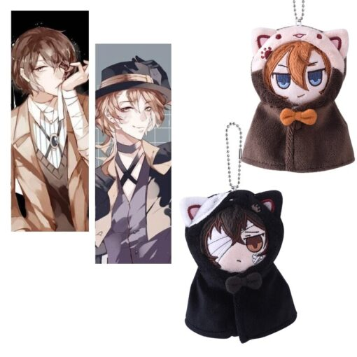 Anime Stray Dogs Plush Doll Stuffed Toy Anime PP Cotton Tsumamarekko Dazai Atsushi Ranpo Akutagawa Keychain 4