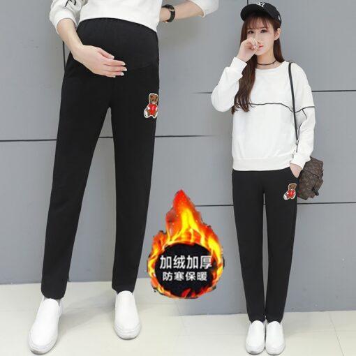Autumn Winter Pregnant Thick Cashmere Legging Spliced Bear Elastic Black Gray Warm Pant Slim Blended Cotton 1