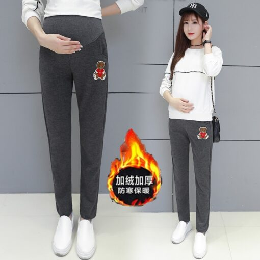 Autumn Winter Pregnant Thick Cashmere Legging Spliced Bear Elastic Black Gray Warm Pant Slim Blended Cotton 2