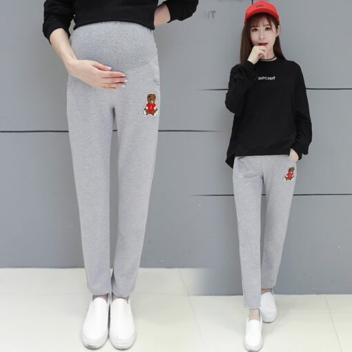 Autumn Winter Pregnant Thick Cashmere Legging Spliced Bear Elastic Black Gray Warm Pant Slim Blended Cotton 3