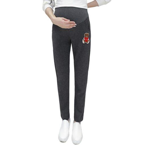 Autumn Winter Pregnant Thick Cashmere Legging Spliced Bear Elastic Black Gray Warm Pant Slim Blended Cotton 4