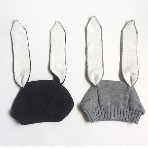 Autumn Winter Toddler Infant Knitted Baby Hat Adorable Soft Rabbit Long Ear Rabbit Hat Baby Bunny 2