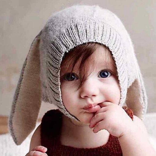 Autumn Winter Toddler Infant Knitted Baby Hat Adorable Soft Rabbit Long Ear Rabbit Hat Baby Bunny 5