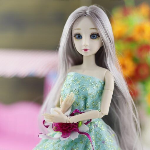 BJD Doll 1 6 30cm 20 Movable Joints 3D Eyes long hair Female Plastic Nude Body