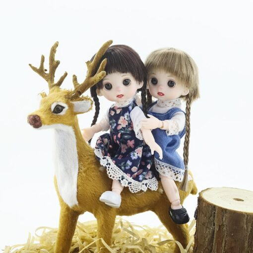 BJD Doll 16cm 13 Movable Jointed Dolls White Skin Plastic cute Doll with long hair for 1