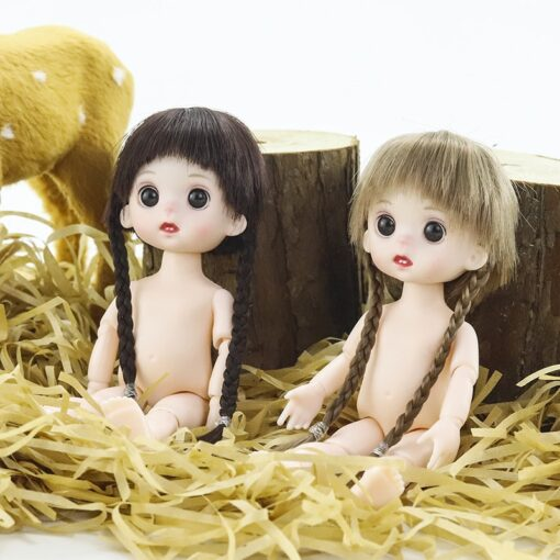 BJD Doll 16cm 13 Movable Jointed Dolls White Skin Plastic cute Doll with long hair for 3