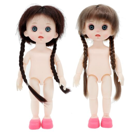 BJD Doll 16cm 13 Movable Jointed Dolls White Skin Plastic cute Doll with long hair for