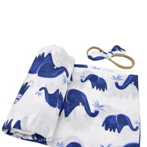 Babies Sleeping Bags Newborn Cotton Swaddle Newborn Infant Baby Floral Swaddle Headband Soft Sleeping Blanket Wrap 4