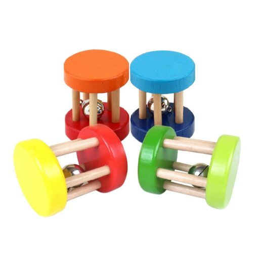 Baby 1pcs Montessori Wooden Cage Rattles Toy Musical Hand Bell Instruments Shaking Handbell Toys Intellectual Educational 1