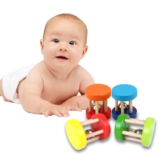 Baby 1pcs Montessori Wooden Cage Rattles Toy Musical Hand Bell Instruments Shaking Handbell Toys Intellectual Educational 2