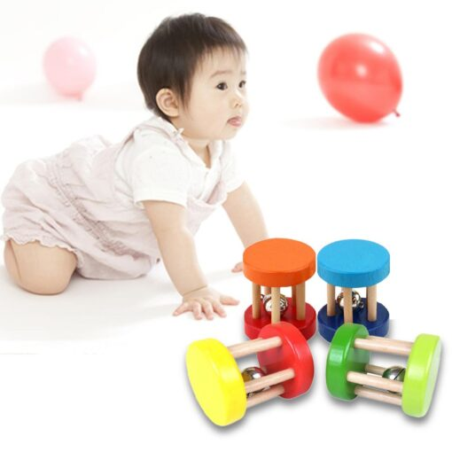 Baby 1pcs Montessori Wooden Cage Rattles Toy Musical Hand Bell Instruments Shaking Handbell Toys Intellectual Educational 3