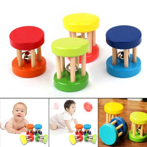 Baby 1pcs Montessori Wooden Cage Rattles Toy Musical Hand Bell Instruments Shaking Handbell Toys Intellectual Educational