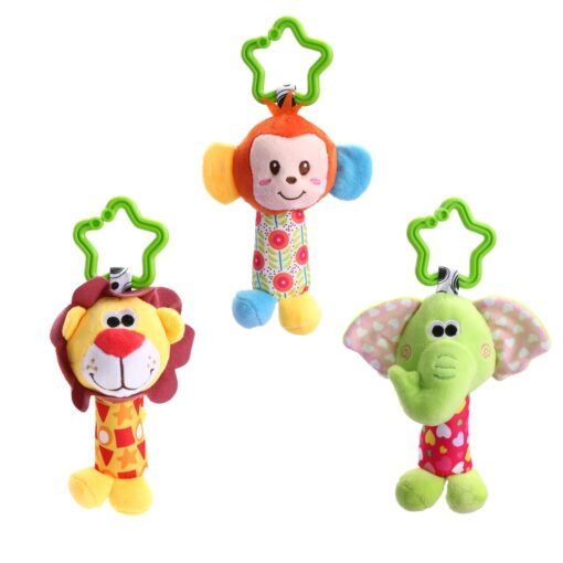 Baby Bed Wind Stroller Hanging Rattles Safety Stuffed Animal Baby Pram Rattle Toys for 0 12M