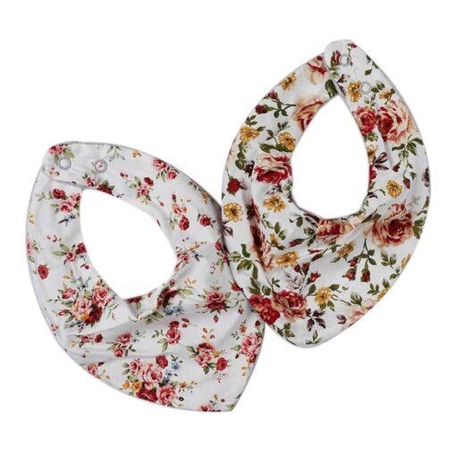 Baby Bib Fashionable Floral Print Cotton Bib Adjustable Infant Burp Cloth for Drooling 3