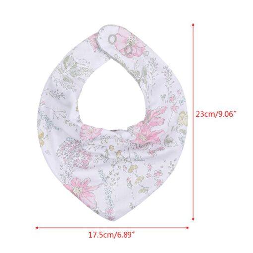 Baby Bib Fashionable Floral Print Cotton Bib Adjustable Infant Burp Cloth for Drooling 5