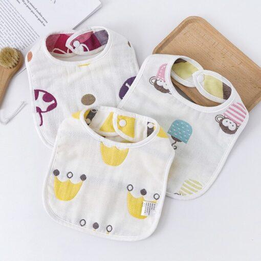 Baby Bib Printing Washable U Absorbent Drool Towel Soft Bib Gauze Saliva Towel Color Cute Unisex 2