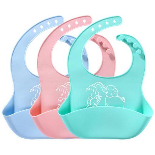 Baby Bib Waterproof Infant Adjustable Fashion Cartoon Soft Food Grade Silicone Bib Dripping Bibs Burp Feeding
