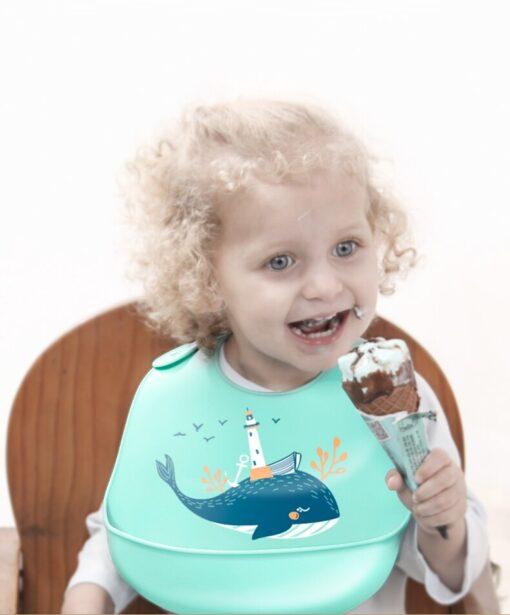 Baby Bib for Newborn Cute Cartoon Print Kid Feeding Arpon Waterproof Baby Bibs Silicone Adjustable Food 13