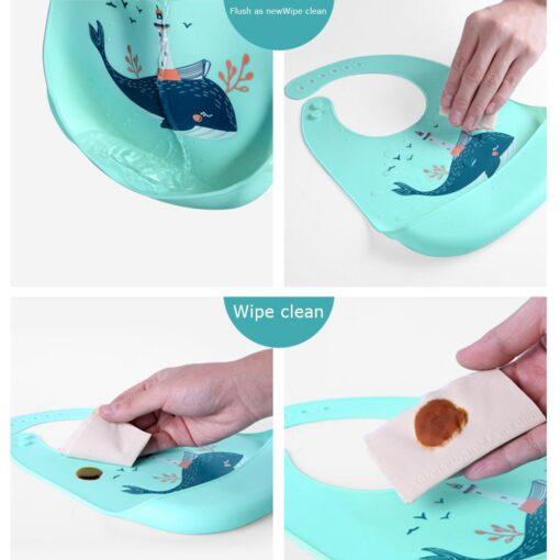 Baby Bib for Newborn Cute Cartoon Print Kid Feeding Arpon Waterproof Baby Bibs Silicone Adjustable Food 4