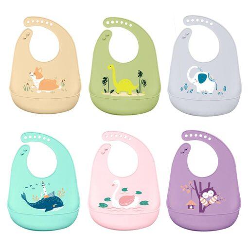 Baby Bib for Newborn Cute Cartoon Print Kid Feeding Arpon Waterproof Baby Bibs Silicone Adjustable Food 6
