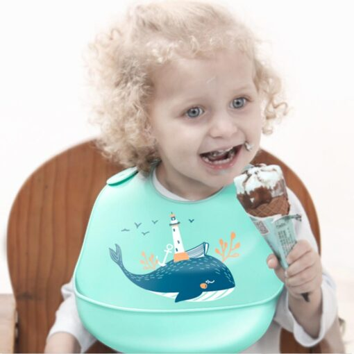 Baby Bib for Newborn Cute Cartoon Print Kid Feeding Arpon Waterproof Baby Bibs Silicone Adjustable Food 9
