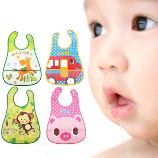 Baby Bibs Burp Cloth Stereoscopic Pinafore EVA Waterproof Overclothes Cartoon Lunch Bibs Feeding Bandanas Infant Saliva