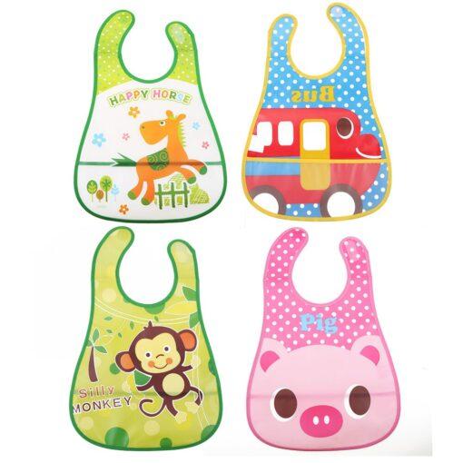 Baby Bibs Burp Cloth Stereoscopic Pinafore EVA Waterproof Overclothes Cartoon Lunch Bibs Feeding Bandanas Infant Saliva 6