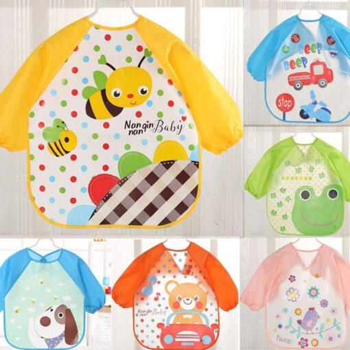 Baby Bibs Burp Clothes Bib Waterproof Long Sleeve Kids Boys Girls Feeding Bibs Apron Saliva Towel 1