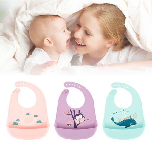 Baby Bibs Feeding Burp Waterproof Silicone Baby Bibs Cloths Toddler Kids Boys Adjustable Feed Apron Saliva 2