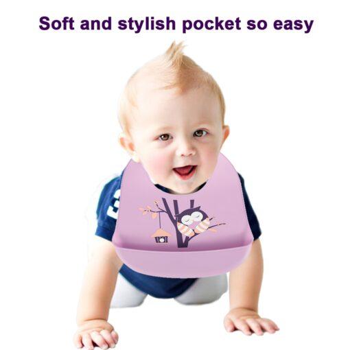 Baby Bibs Feeding Burp Waterproof Silicone Baby Bibs Cloths Toddler Kids Boys Adjustable Feed Apron Saliva 3