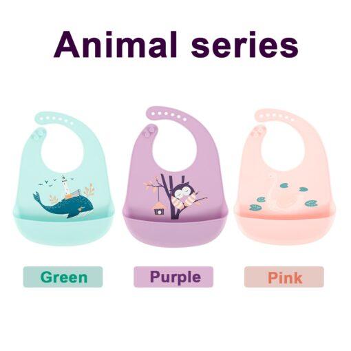 Baby Bibs Feeding Burp Waterproof Silicone Baby Bibs Cloths Toddler Kids Boys Adjustable Feed Apron Saliva 4