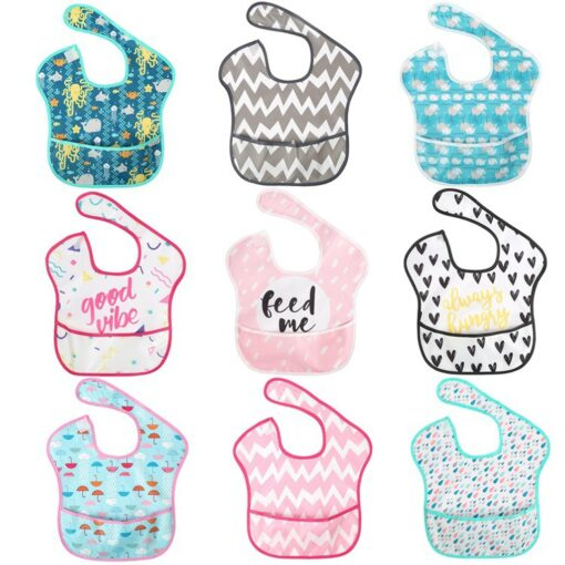 Baby Bibs Newborn Kid Infants Waterproof Stain Resistant Bib With Pocket Saliva Towel Baby Feeding Baberos