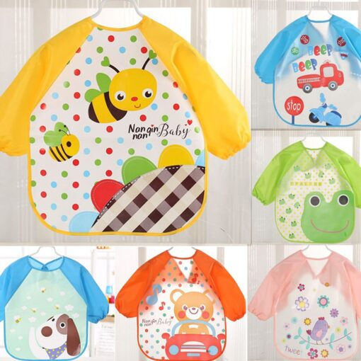 Baby Bibs Toddler Boy Girl Long Sleeve Letter Waterproof Feeding Art Apron Smock Baby Toddler Long 5