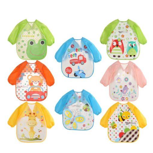 Baby Bibs Waterproof Long Sleeve Apron Cute Feeding Smock Bib Baby Care Stuff Accessories Children Feeding