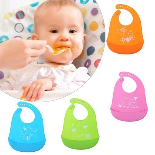 Baby Bibs Waterproof Silicone Feeding Baby Saliva Towel Newborn Cartoon Aprons Baby Bibs Adjustable Different styles 1
