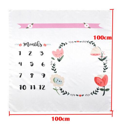 Baby Blanket Milestone Photography Newborn Baby Blanket Monthly Flowers Numbers Photo Prop 1