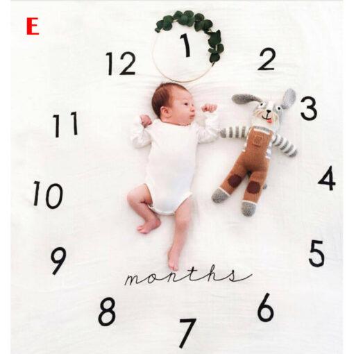 Baby Blanket Milestone Photography Newborn Baby Blanket Monthly Flowers Numbers Photo Prop 2