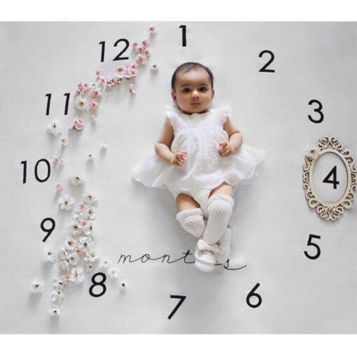Baby Blanket Milestone Photography Newborn Baby Blanket Monthly Flowers Numbers Photo Prop 4