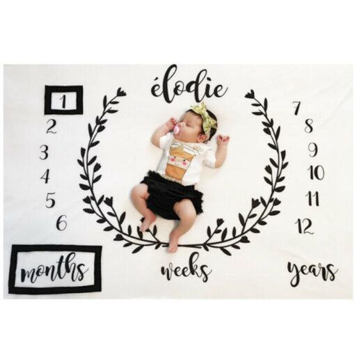 Baby Blanket Milestone Photography Newborn Baby Blanket Monthly Flowers Numbers Photo Prop 5