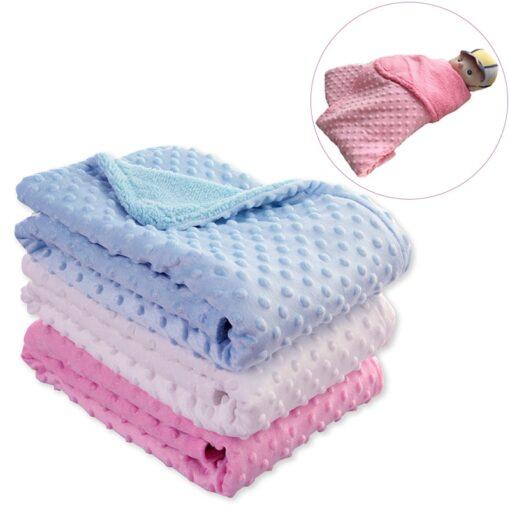 Baby Blanket Swaddling Newborn Thermal Soft Fleece Blanket Winter Solid Bedding Set Cotton Quilt Infant Bedding