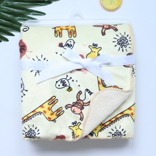 Baby Blankets New Thicken Double Layer Coral Fleece Infant Swaddle Bebe Envelope Wrap Owl Printed Newborn 4