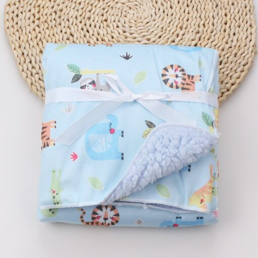 Baby Blankets New Thicken Double Layer Coral Fleece Infant Swaddle Bebe Envelope Wrap Owl Printed Newborn 6