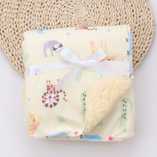 Baby Blankets New Thicken Double Layer Coral Fleece Infant Swaddle Bebe Envelope Wrap Owl Printed Newborn 7