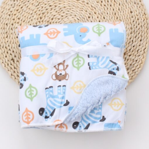 Baby Blankets New Thicken Double Layer Coral Fleece Infant Swaddle Bebe Envelope Wrap Owl Printed Newborn 8