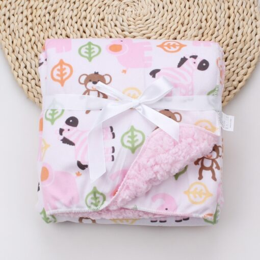 Baby Blankets New Thicken Double Layer Coral Fleece Infant Swaddle Bebe Envelope Wrap Owl Printed Newborn 9