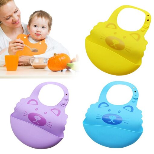 Baby Boy Girl Soft Silicone Cartoon Bibs Buckle Foldable Adjustable Bibs Rice Pocket Infant Burp Cloths 1