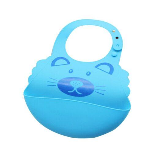 Baby Boy Girl Soft Silicone Cartoon Bibs Buckle Foldable Adjustable Bibs Rice Pocket Infant Burp Cloths 2