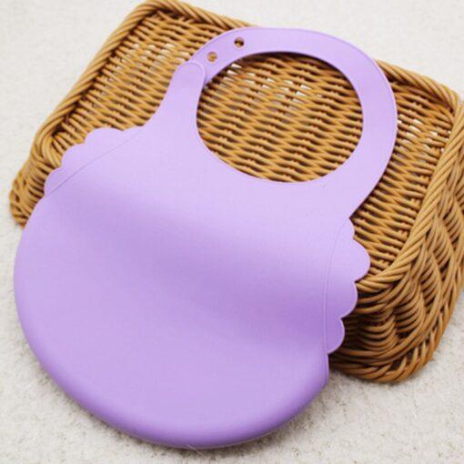 Baby Boy Girl Soft Silicone Cartoon Bibs Buckle Foldable Adjustable Bibs Rice Pocket Infant Burp Cloths 4